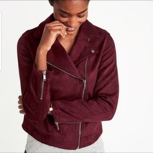 🌹NWT Old Navy SUEDED Knit Moto Jacket Wine Purple